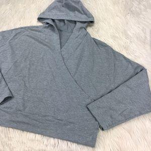 Lucy Cross Gray Over Wrap Hooded Sweatshirt